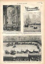 Basilique de Saint-Front de Périgueux/Port de Bordeaux/ Gare à Lyon GRAVURE 1876