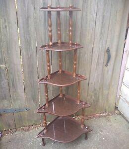Corner Free Stand 5 Tier Wooden Curio Décor Book Shelf  Storage Organizer