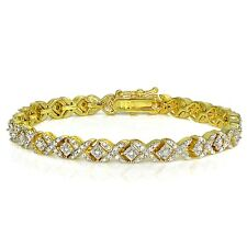 Gold Tone 1ct TDW Diamond Miracle Set X Tennis Bracelet