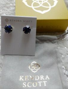 Kendra Scott Ryan Stud Earrings Blue Lapis Lazuli 14k Gold Plated New In Box Tag