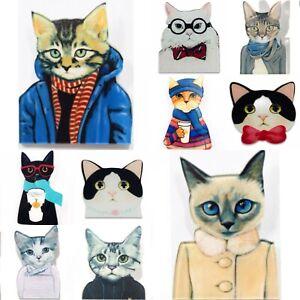 Katze Anstecknadel Abzeichen Brosche Geschenk Cat Lover Acryl Schmuck schwarz weiß Kätzchen Damen