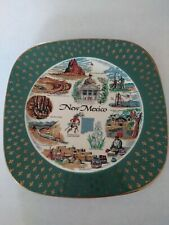 Vintage Homer Laughlin Souvenir Plate New Mexico Teal Gold Eggshell