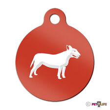 Bull Terrier Engraved Keychain Round Tag w/tab bully pit bull Many Colors
