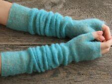 Knit turquoise long mohair gloves elbow length crochet wedding bridal fingerless