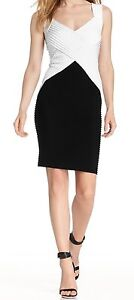 Calvin Klein Women's White Banded Sleeveless Sheath Dress 14 CD4A2RDX
