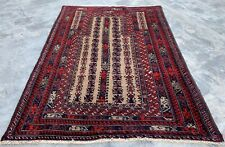Authentic Hand Knotted Afghan Balouch Prayer Wool Area Rug 4.5 x 3.2 Ft (396 Hm)