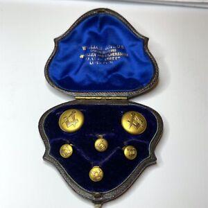 Vintage Masonic Dress Studs 9ct Gold Original Box