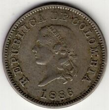 1886 COLOMBIA FIVE 5 CENTAVOS WORLD COIN NICE
