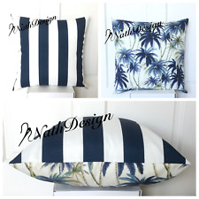 "Tommy Bahama Indoor/Outdoor 18"" Blue Palm Tree/ Blue Stripes Cushion Cover"