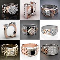 White Topaz Ring Pretty Women Men 925 Silver Wedding Party Gift Jewelry Sz 5-12