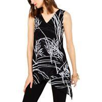 Alfani Women's Printed Asymmetric Hem Top Blouse, Semi Sheer, Size M, $70, NwT