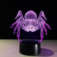 Cool Spider 3D LED Night Light 7 Color Touch Switch Table Desk Lamp Kids Gifts
