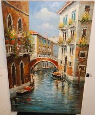 LARGE OIL ON CANVAS VENICE CANAL PAINTING UNSIGNED