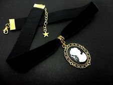 A LADIES GIRLS 16MM BLACK VELVET & GOLD  CAMEO CHOKER NECKLACE . NEW.