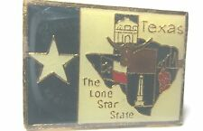 Vintage Hat/Tie Tack  State of Texas Flag Map detailed cities location