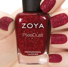 ZOYA ZP729 OSWIN Ultra PixieDust red nail polish w/ crimson mega hex particles