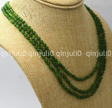 """3 rows faceted 4mm dark green emerald gemstone beads Necklace 17-19"""" JN719"""