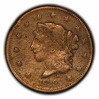 1839 1c Coronet Head Large Cent - Booby Head - VF Details - SKU-Y2631