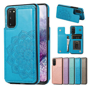 Samsung S21 Note 20 Ultra S10 S9 8 Case Magnetic Flip Leather Wallet Cards Cover
