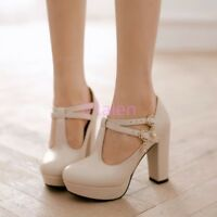 New Womens Cute high Thick Heel T Bar Strap Mary Jane Wedding Shoes Pump Plus SZ