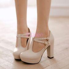 Z Womens Lady Retro high Block Heel T Bar Strap Mary Jane Round Toe Shoes Pumps