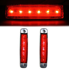 2x Red 6 LED Front Side Marker Light Lamp Signal 12V Chassis Transporter Bus Van