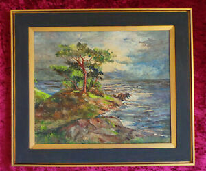 SEASIDE IMPRESSION AT A SUNSET. AN OIL PAINTING ON BOARD. (1964)