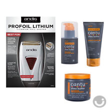Andis Profoil Lithium Shaver and Cantu Shave serum, gel, scrub for men face