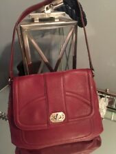 Isaac Mizrahi Burgundy Shoulder Handbag Bag Leather Hobo with Turnlock