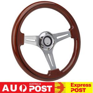 "350mm  14"" inch Wood Grain Black Trim Classic Chrome Spoke Steering Wheel Wooden"