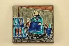 Vtg Knabstrup Pottery Dietlinde Hein Tile Wall Art Danish Mid Century Modern