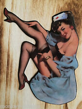"Pin up Aufkleber Retro Sticker "" Med "" Lady Schwester Rockabella Pinup Girl USA"