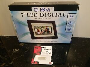 "SHOMi 7"" LED Digital Picture Frame Brand New, Plug & Play No PC Required- W/8GB"