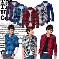 Men's Classic Casual Plaid Shirt Fashion Long Sleeve Button-up Cotton Shirt Top