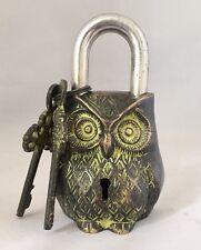 Owl Head LOCK Big Padlock brass keys antique look Owl Pad Vintage lion