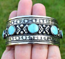 Handmade Blue Turquoise Afghan Kuchi Cuff Bracelet Tribal Silver Ethnic Jewelry