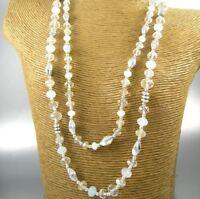 Long Clear Crystal Beads Fashion Necklace Earrings Women Jewelry