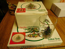 Spode Christmas Tree Set 4 Double Old Fashioneds Glasses & Tidbit Tray ~ NIB ~
