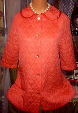 Vintage Satin Barbie Orange Victorian Puff Quilt Peignoir Dressing Robe Coat M