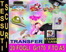 20 FOGLI A5 170 GR CARTA TRANSFER FOTOGRAFICA TESSUTI SCURI STAMPA  INKJET