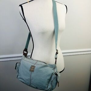 FOSSIL blue cloth purse crossbody shoulder bag outside pockets