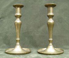 """Antique Pair 18thC Brass Candlesticks 7"""""""