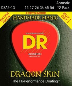 DR Dragon Skin 2 Pack DSA-13 Acoustic Guitar Strings.  Free U.S. Shipping