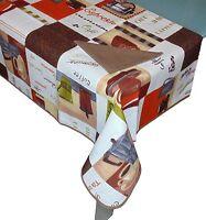 Tovaglia per 6 posti con tovaglioli cotone Made in Italy cappuccino marrone