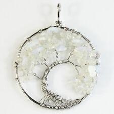 White Opal Opalite Chips Beads Tree of Life Reiki Chakra Silver Round Pendant
