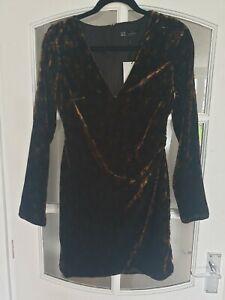 ZARA Black And Brown Spotted Velvet Straight Dress (Womens, Size S)