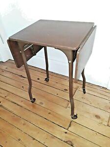 Vtg Typewriter Stand Desk Drop Leaf Table casters (Q89) p2