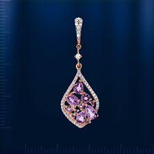 Russian solid rose gold 585/14k Amethyst, CZ drop cluster Pendant Beautiful!!