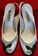Vintage Eclisse Italy white leather snakeskin wedge slingback sandals shoes 7 M