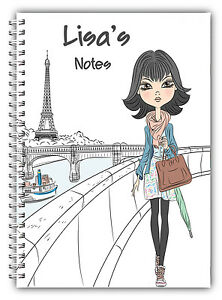 A5 PERSONALISED NOTEBOOK NOTES LINED BLANK 100 PAGES GIFT WIRE BOUND PARIS GIRL